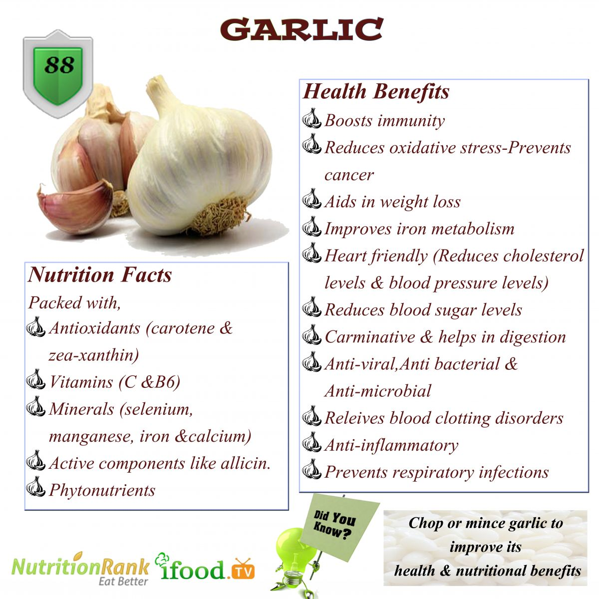 garlic antioxidants anti bacterial anti inflammatory infections
