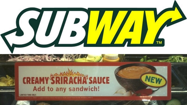 Subway Test Runs Sriracha Sauce in California