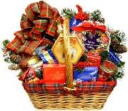 Homemade Christmas gift baskets stuffed with goodies