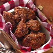 Fried chicken pieces are an integral part of country picnics